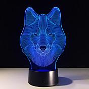 animales lobo decoración 3d nocturna LED de colores lobo diseño lámpara de mesa lobo adolescente luces ilusión dormitorio decoración