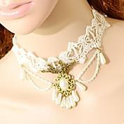 Mujer Gargantillas Forma Oval Forma de Corona Tela de Encaje Moda Turco Clásico Blanco Joyas ParaBoda Fiesta Ocasión especial Cumpleaños