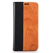 용 케이스 커버 카드 홀더 스탠드 플립 마그네틱 풀 바디 케이스 단색 하드 나무 용 Samsung S7 edge S7