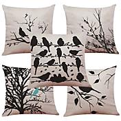 5 PC Lino Natural/Orgánico Cobertor de Cojín Funda de almohada,Floral Sólido Con Texturas A cuadrosEstilo playero Casual Retro