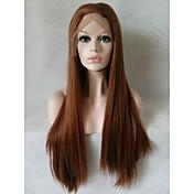 Mujer Pelucas sintéticas Encaje Frontal Medio Largo Liso castaño medio Peluca natural Las pelucas del traje