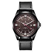 Hombre Reloj Deportivo Reloj de Moda Japonés Cuarzo Calendario Resistente al Agua Cuero Auténtico Banda Negro Marrón
