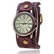 Hombre Reloj de Moda Reloj Pulsera Reloj creativo único Reloj Casual Chino Cuarzo Piel Banda Cosecha Casual Elegantes Negro Blanco Azul