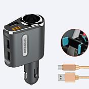 cargador del coche de hyundai cargador rápido voltaje de la exhibición 1 salidas 3 puertos del usb 3.1a dc 12v-24v con el sostenedor del