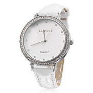 Women's Simple Style PU Analog Quartz Wrist Watch (White)