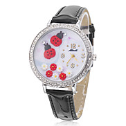 Women's Ladybird Style PU Analog Quartz Wrist Watch (Black)