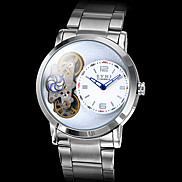 Men's Silver Case Steel Analog Mechanical Wrist Watch (Silver)