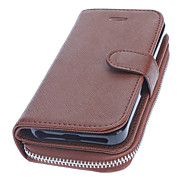 Brown Luxury Leather Wallet Design Full Body Case with Strap for iPhone 5/5S