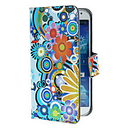 Exquisite Flowers and Circles Pattern PU Leather Case with Stand and Card Slot for Samsung Galaxy S4 I9500