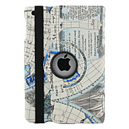 Rotatable Map Pattern PU Leather Case with Stand for iPad3/iPad4