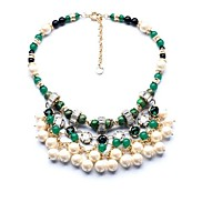 Luxury Green Crystal Beads PearlsTassel Necklace (1 Pc)