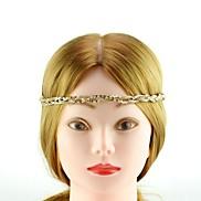 Fashion Gold Brass Rhinestone Headbands For Women (Gold)(1Pc)