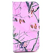 Pink Camo Tree Pattern PU Leather Stand Case with Card Slot for Samsung Galaxy S4 I9500