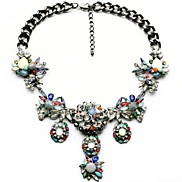 Luxurious Colorful Rhinestone Flowers Necklaces  (1 Pc)