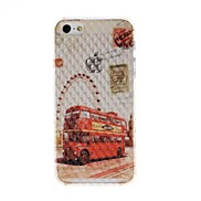 Ferris Wheel and Red Bus Pattern Diamond Effect Surface Plastic Hard Case for iPhone 5/5S