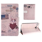 Pure Kitten and Flag Pattern PU Full Body Case with Card Slot for HTC One M8