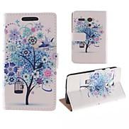 The Tree Blue Flower Pattern PU Full Body Case with Card Slot for Motorola MOTO G