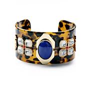Fashion Blue Resin Gem Leopard Grain Cuff Bangle (Brown) (1 Pc)