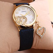 Serpentine European Style Fashion Diamond Heart Peadant Ladies Leather Watch (Assorted Color)