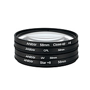 Andoer 58mm UV CPL Close-Up4 Star 8-Point Filter Circular Filter Kit Circular Polarizer Filter Macro Close-Up Star 8-Point Filter with Bag for Nikon