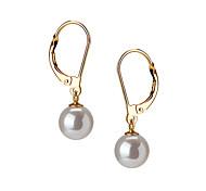 14k oro blanco 7,5 - 8 mm aaaa arete de perla de agua dulce (dszz055)