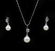 14k oro blanco blanco 7,5 - 8 mm aa FW collar de perlas y pendientes establecidas (xzz058)