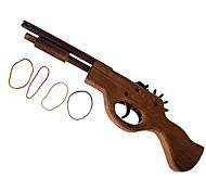 Classical Multi-Shot Rubber Band Launcher Wooden Pistol Gun (Toy)