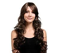 capless extra long synthétique de haute qualité naturelle regard d'or perruque brune cheveux bouclés