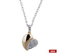 8gb coração de cristal em forma usb flash drive colar (de ouro)