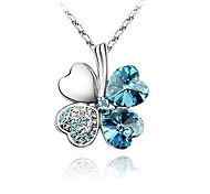 Light Blue hining Crytal And Platinum Plated Alloy Pendant Necklace