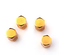 Luxury Tire Valves Caps/Stems Golden for Car (4 Pieces Per Pack)