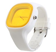 Silicone Band Fashion Women Men Unisex Casual Jelly Sport Watch - Yellow
