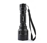 LED Flashlights/Torch / Handheld Flashlights/Torch LED 3 Mode 1000 Lumens Cree XM-L T6 18650 Uniquefire , Black Aluminum alloy