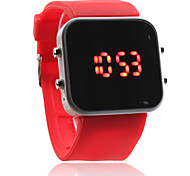 Silicone Band Women Men Unisex Jelly Sport Style Square Mirror LED Wrist Watch - Red