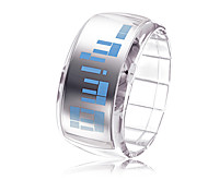Unisex Futuristic Blue LED Digital White Band Bracelet Watch Cool Watches Unique Watches