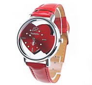 Women's Double Hearts Dial Red PU Band Quartz Wrist Watch