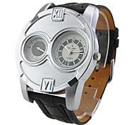 V6® Men's Sports Style Silver Case Black Leather Band Quartz Wrist Watch  Cool Watch Unique Watch
