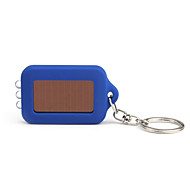 Solar Powered White Light 3-LED Keychain Flashlight (Blue)