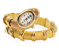 Women's Gold Snake Style Alloy Quartz Analog Bracelet Watch