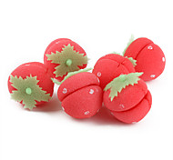6-pieces Strawberry Shaped Sponge Hair Care Roller Curler Roll