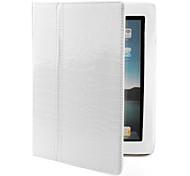 Crocodile Skin Protective PU Leather Case & Stand for iPad 2 (Auto Sleep/Wake-Up Function, White)