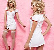 Hot Girl White Polyester Low-cut Nurse Suit (2 Pieces)