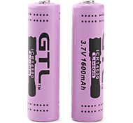 GTL ICR14500 3.7V Rechargeable 14500 Li-ion Battery (2-pack, 1600mAh)