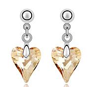 изысканные серьги форма любви кристалл