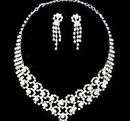 Silver Pearl Two Piece Gorgeous Piercing Design Ladies' Wedding Jewelry Set(45 cm)