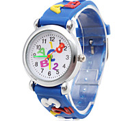 Children's Letters Pattern Blue Silicone Band Quartz Analog Wrist Watch Cool Watches Unique Watches