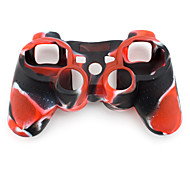 Funda Protectora de Silicona de Dos Colores para Mando PS3 (Rojo y Negro)