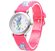 Children's Cartoon Dolphin Pattern Red Silicone Band Quartz Analog Wrist Watch Cool Watches Unique Watches