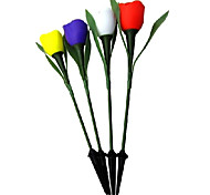 White Light Solar Powered LED Rechargeable Tulip Flower Garden Light (4 Pieces)