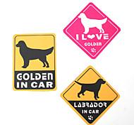 I Love My Golden Retriever Dog Car Stickers (3-Pack)
